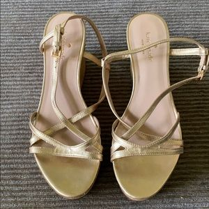 Kate Spade gold wedge sandal